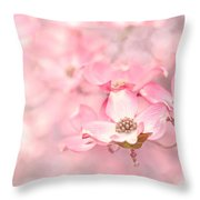 Pink Dogwood Blossoms Throw Pillow