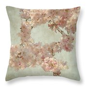 Cherry Blossom Bridal Bouquet Throw Pillow