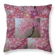 Cherry Blossom Collage Throw Pillow
