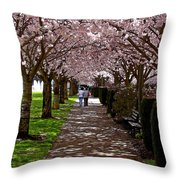Cherry Blossom Friends Throw Pillow