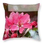 Cherry Blossom Greeting Card With Verse Throw Pillow