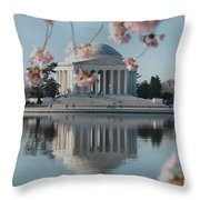 Cherry Blossoms And Jefferson Memorial Throw Pillow