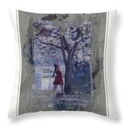 Cherry Blossom Red Abstract Throw Pillow