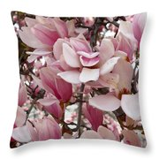 Pink Magnolia Blossom Throw Pillow
