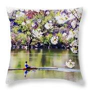 Cherry Blossom Rower Throw Pillow