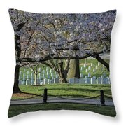Cherry Blossoms Adorn Arlington National Cemetery Throw Pillow
