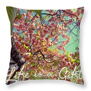 Cherry Blossoms And A Life Quote Throw Pillow