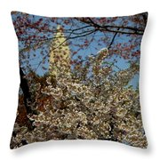 Cherry Blossoms And The Monument Throw Pillow