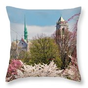 Cherry Blossoms And The Sacred Heart Throw Pillow