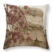 Cherry Blossoms At The Martin Luther King Jr Memorial Throw Pillow