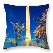 Cherry Blossoms At The Monument Throw Pillow