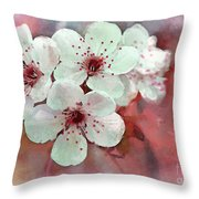 Apple Blossoms In Soft Pink - Digital Paint Throw Pillow