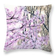 Cherry Blossoms In Spring Snow Throw Pillow
