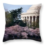 Cherry Blossoms Jefferson Memorial Throw Pillow