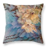 Cherry Blossoms N Lace Throw Pillow