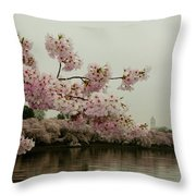 Cherry Blossoms On A Foggy Morning Throw Pillow