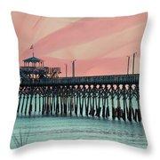 Cherry Grove Fishing Pier Throw Pillow
