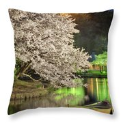 Cherry Blossom Temple Boat Throw Pillow