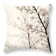 Cherry Tree Blossom Artistic Closeup Sepia Toned Throw Pillow