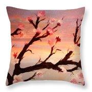 Cherry Tree Expresssive Brushstrokes Throw Pillow