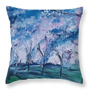 Cherry Trees Impressionism Throw Pillow