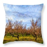 Cherry Trees With Blue Sky Throw Pillow