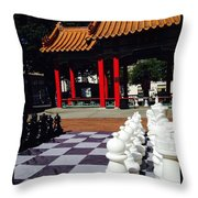 Chess In China Town Throw Pillow