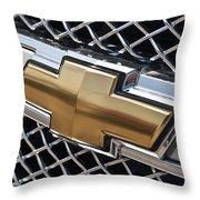 Chevrolet Bowtie Symbol On Chevy Silverado Grill E181 Throw Pillow
