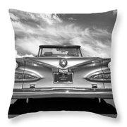 Chevrolet Impala 1959 In Black And White Throw Pillow