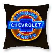 Chevrolet Neon Sign Throw Pillow