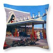 Chevron Gas Station At Santa's Village With Reindeer And Carl Hansen Throw Pillow