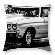 Chevy Chevrolet Chevelle Ss Burning Rubber Throw Pillow