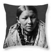 Cheyenne Young Woman Circa 1910 Throw Pillow by Aged Pixel