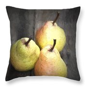 Chiaroscuro Style Image Fresh Juicy Pears In Rustic Wooden Setting Throw Pillow
