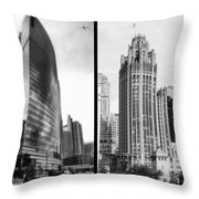 Chicago 333 And The Tower 2 Panel Bw Throw Pillow