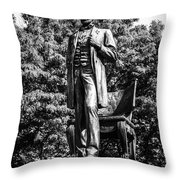 Chicago Abraham Lincoln Statue In Black And White Throw Pillow by Paul Velgos