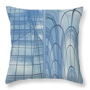 Chicago Abstract Before And After Blue Glass 2 Panel Throw Pillow
