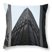 Chicago Abstract Before And After John Hancock Sw Facades Triptych 3 Panel Throw Pillow