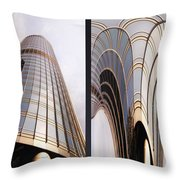 Chicago Abstract Before And After Sunrays On Trump Tower 2 Panel Throw Pillow