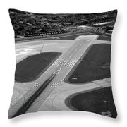 Chicago Airplanes 04 Black And White Throw Pillow