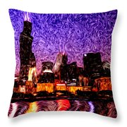 Chicago At Night Digital Art Throw Pillow by Paul Velgos