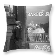 Chicago Barber Shop, 1941 Throw Pillow