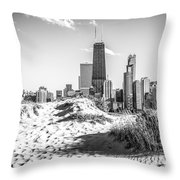 Chicago Beach And Skyline Black And White Photo Throw Pillow