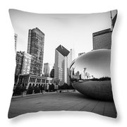 Chicago Bean And Chicago Skyline In Black And White Throw Pillow
