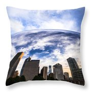 Chicago Bean Cloud Gate Skyline Throw Pillow by Paul Velgos