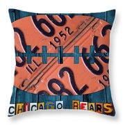 Chicago Bears Football Recycled License Plate Art Throw Pillow