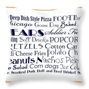 Chicago Bears Game Day Food 3 Throw Pillow
