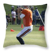 Chicago Bears Qb Jimmy Clausen Training Camp 2014 03 Throw Pillow