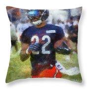 Chicago Bears Rb Matt Forte Training Camp 2014 Photo Art 02 Throw Pillow