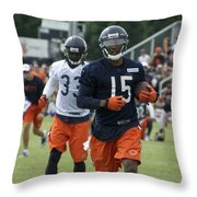 Chicago Bears Wr Brandon Marshall Training Camp 2014 06 Throw Pillow